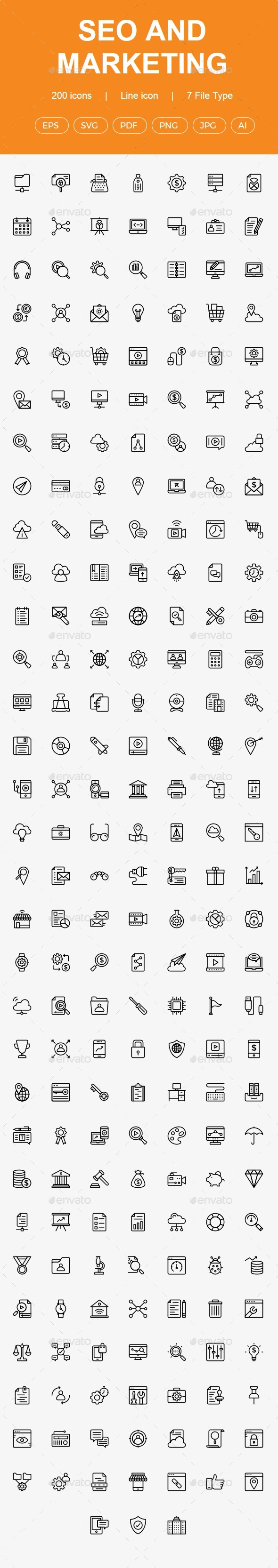 200 SEO & Marketing line icons - Web Icons