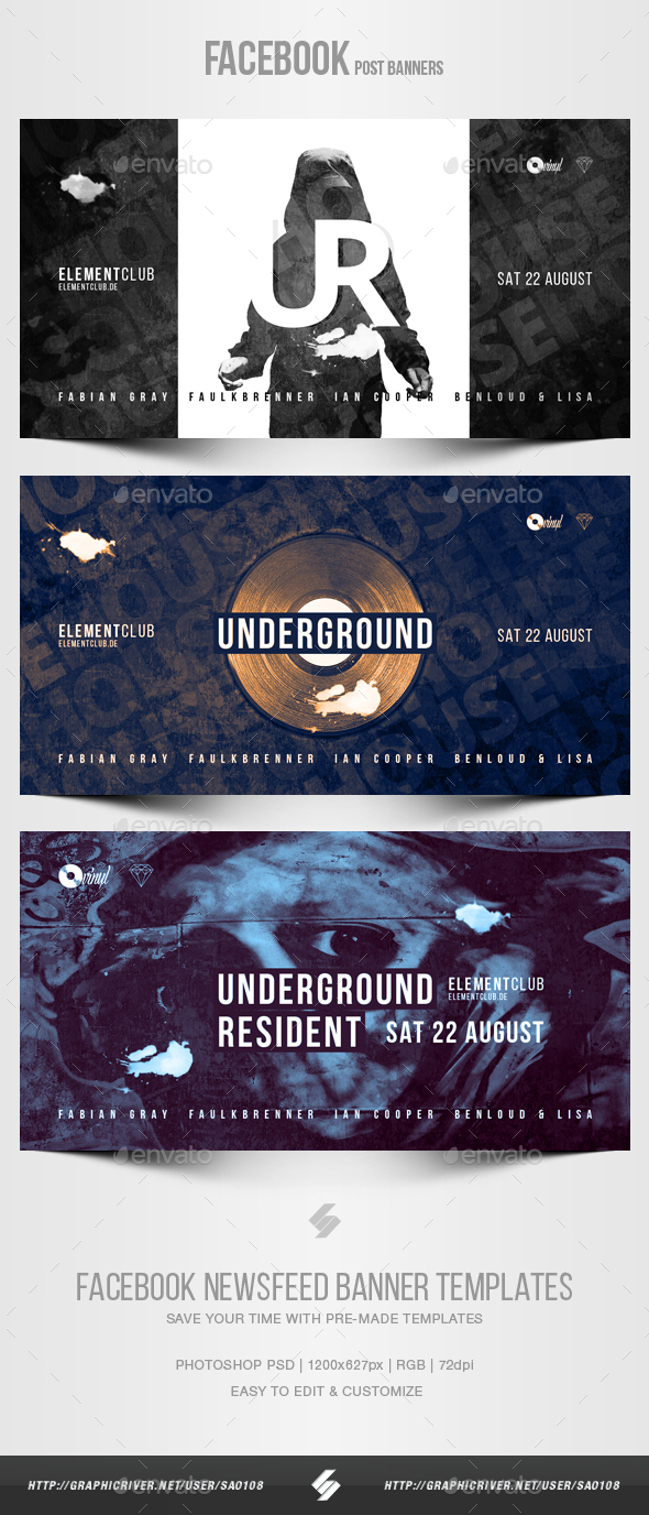 Electronic Music Party vol.27 - Facebook Post Banner Templates - Social Media Web Elements