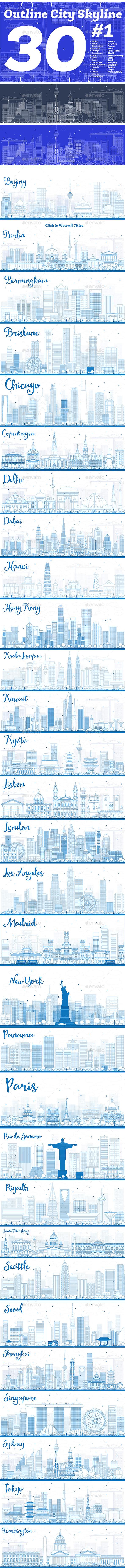 GraphicRiver 30 Outline City Skyline Set 20465463
