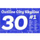 30 Outline City Skyline Set