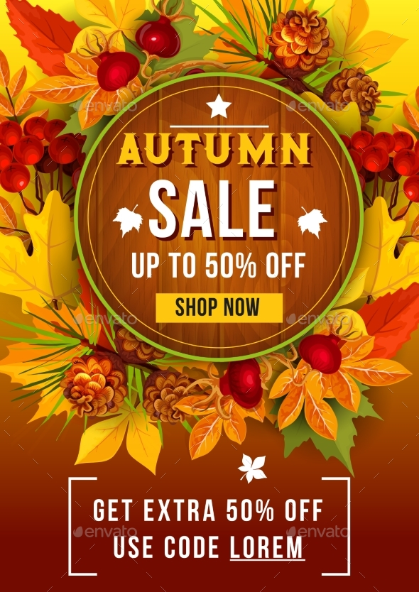 GraphicRiver Autumn Sale Discount Vector Poster of Leaf Fall 20465664