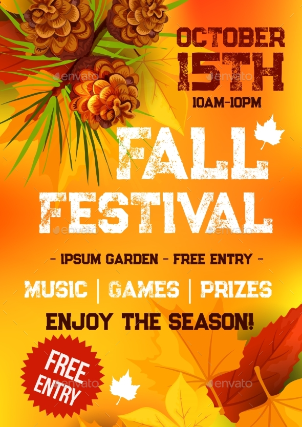 Fall Harvest Festival, Autumn Party Banner Design - Seasons Nature