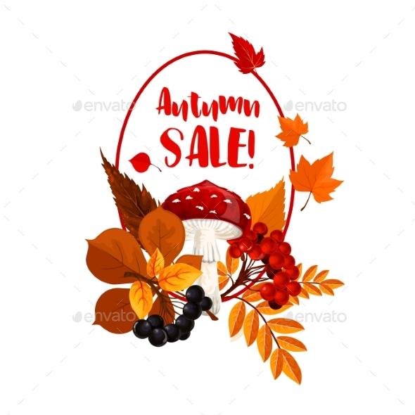 Autumn Season Sale Poster with Leaf, Mushroom - Seasons Nature