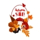 Autumn Season Sale Poster with Leaf, Mushroom - GraphicRiver Item for Sale