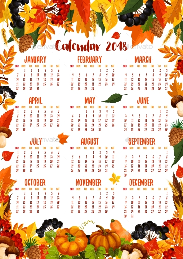 Autumn Nature Vector 2018 Calendar Template - Seasons Nature