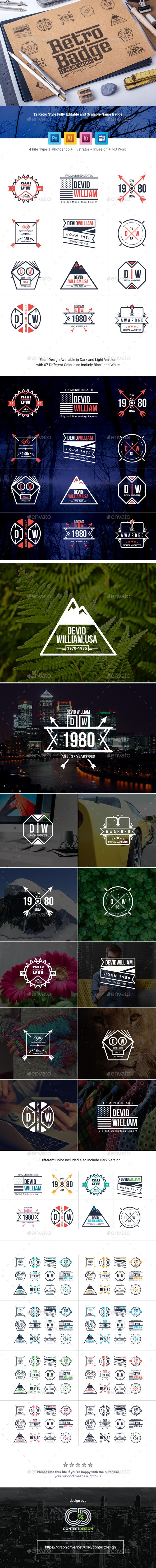 Retro Badge | Name Badge & Logo Collection - Badges & Stickers Web Elements