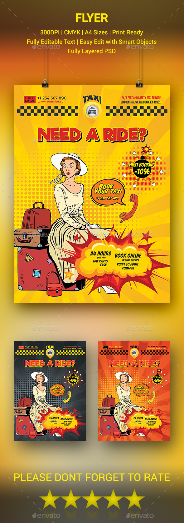 Comic Style Taxi Service Flyer - Commerce Flyers