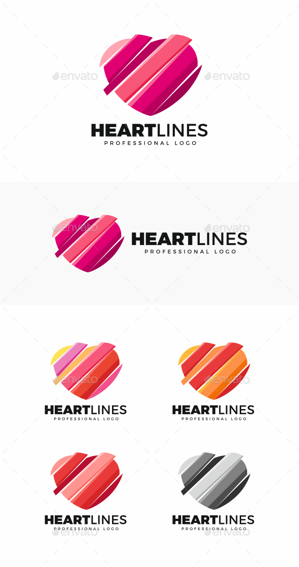 Heart Lines Logo - Symbols Logo Templates