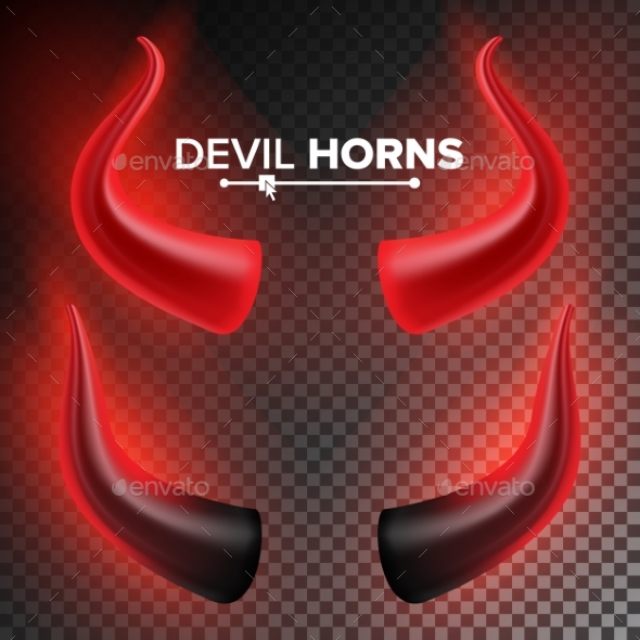 Devils Horns Vector. Red Luminous Horn. Isolated - Objects Vectors