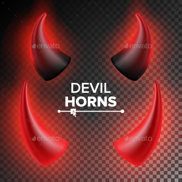 Devils Horns Vector. Red Luminous Horn. Realistic - Objects Vectors