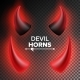 Devils Horns Vector. Red Luminous Horn. Realistic