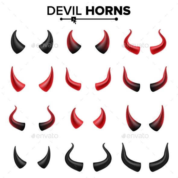 Devil Horns Set Vector. - Objects Vectors