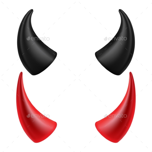 Devils Horns Vector. Isolated On White Background - Objects Vectors