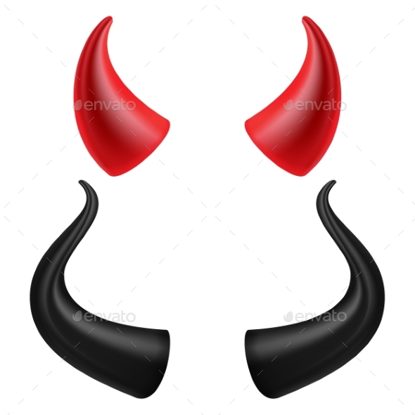 Devils Horns Vector. Realistic Red And Black Devil - Objects Vectors