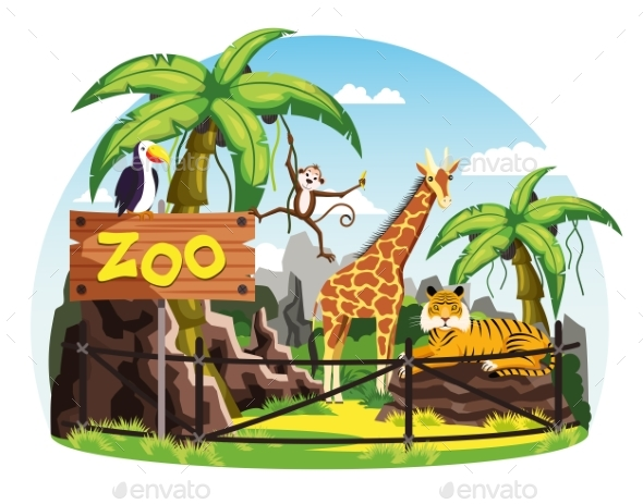 GraphicRiver Giraffe and Monkey Tiger and Toucan at Zoo 20466308