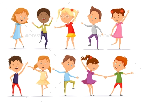 Set of Isolated Little Boys and Girls Dancing - People Characters