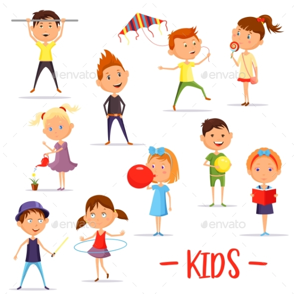Set of Isolated Children or Kids at Their Activity - People Characters