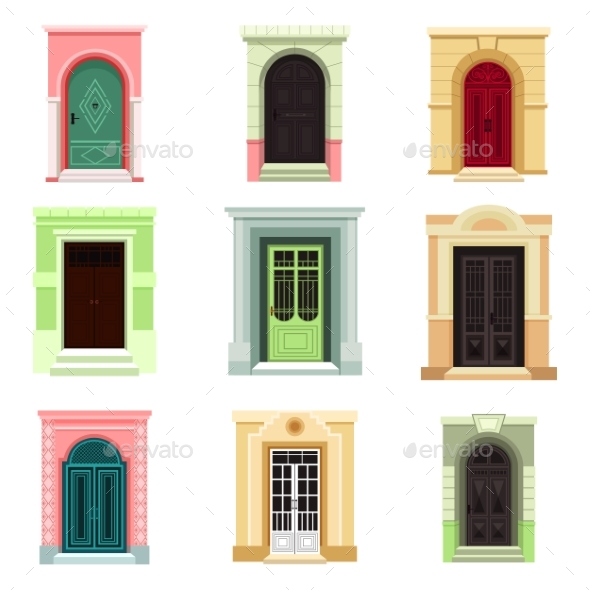 Outdoor View on Classic Doors or Entrance, Exit - Objects Vectors