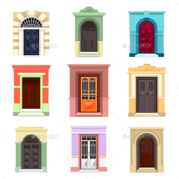 Set of Isolated Outdoor View on Doors - Objects Vectors