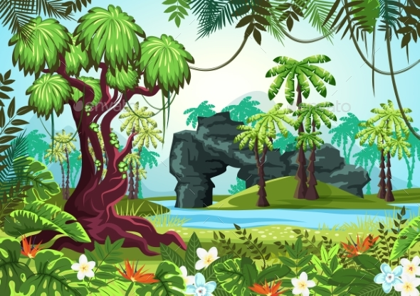 Tropical Wood, Jungle Forest with Palms and River - Landscapes Nature