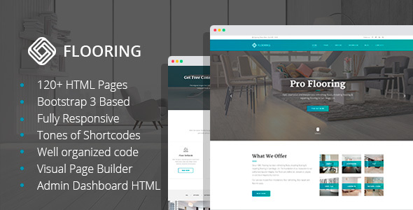 Flooring - Floor Repair / Refinish HTML Template with Visual Builder and Dashboard HTML - Business Corporate