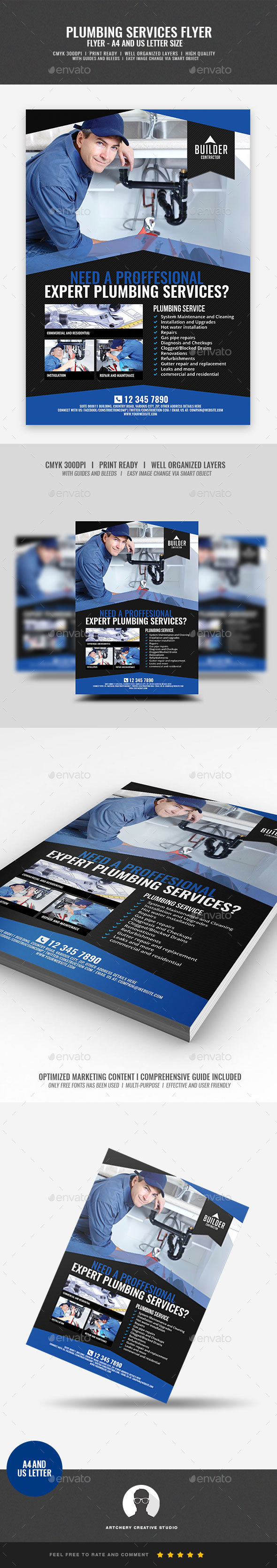 Plumbing Service Flyer - Commerce Flyers