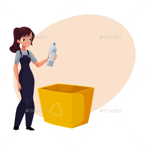 GraphicRiver Young Woman Holding Plastic Bottle Waste Garbage 20466653