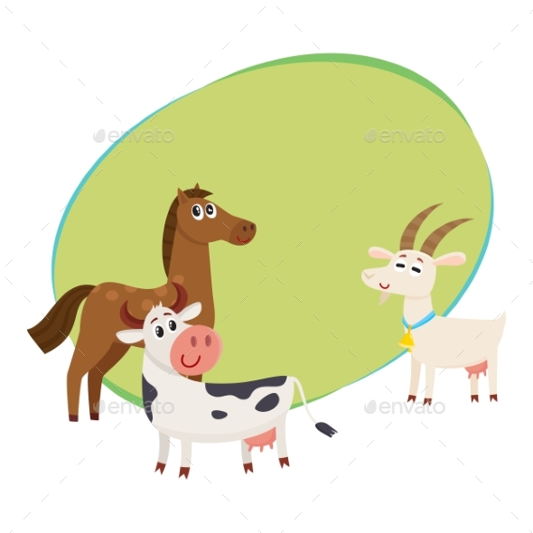 Farm Horse, Cow and Goat Grazing Upon the Green - Animals Characters
