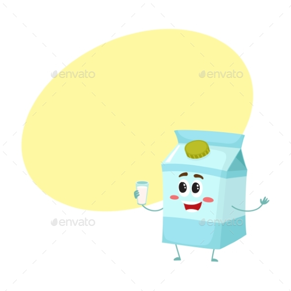 Funny Cute Milk Box Character with a Shy Smile - Food Objects
