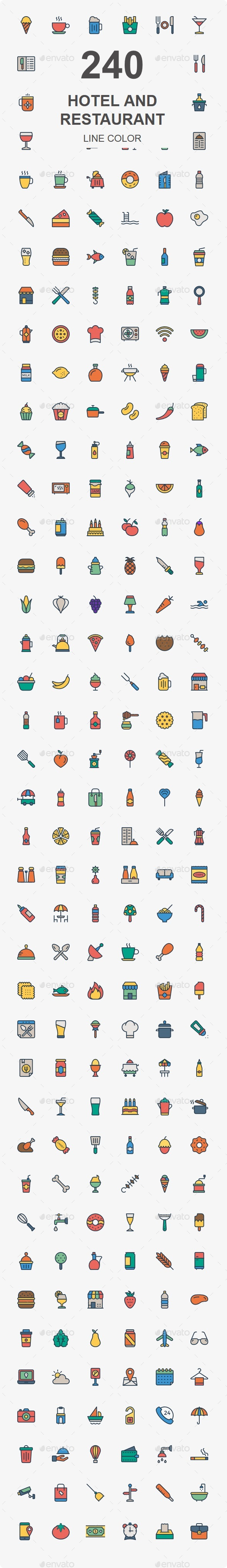 200+ Hotel and Restaurant color icon - Business Icons
