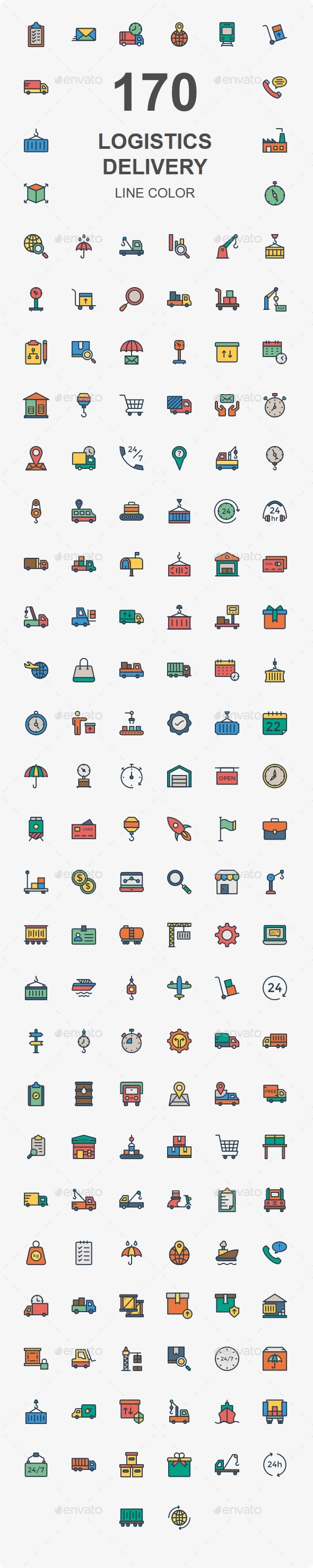 GraphicRiver 170 Logistic Delivery Color icons 20466899