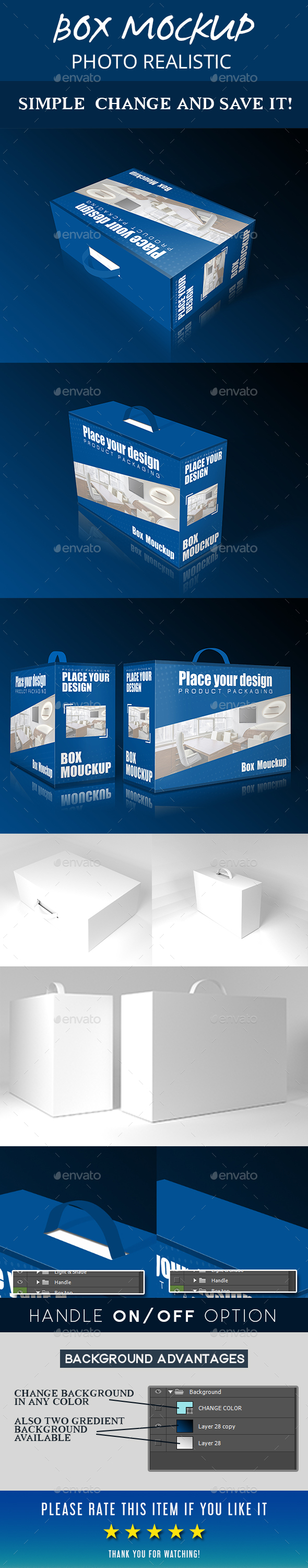 Packaging Box with Handle - Product Mock-Ups Graphics