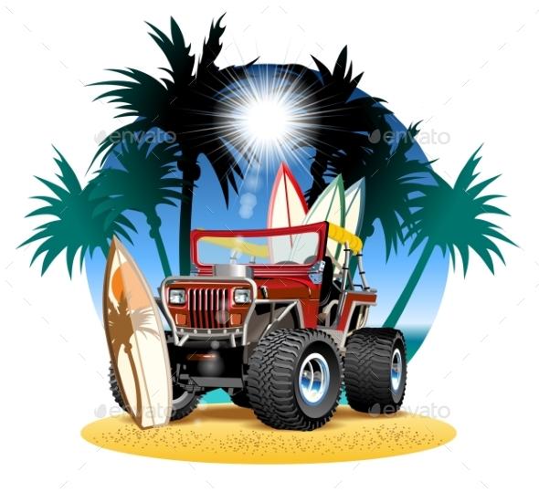 Vector Cartoon 4X4 Car on Beach - Man-made Objects Objects