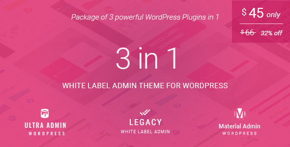 CodeCanyon White label admin theme package for WordPress 3 in 1 Ultra & Legacy & Material Admin 20467013