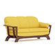 Yellow Sofa with Wooden Frame