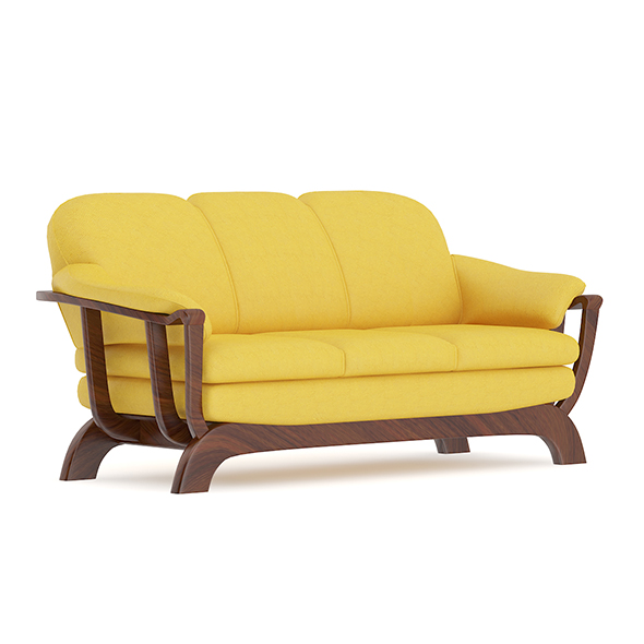 Yellow Sofa with Wooden Frame - 3DOcean Item for Sale