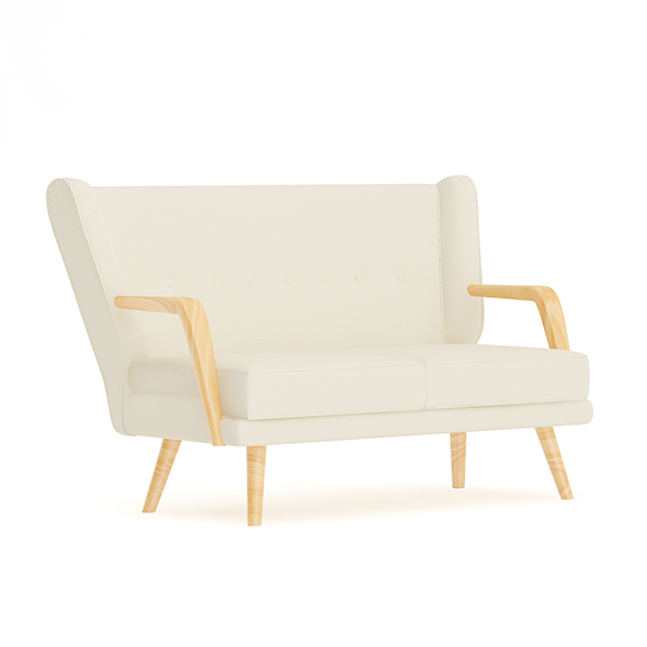3DOcean Beige Sofa with Wooden Arms 20467423