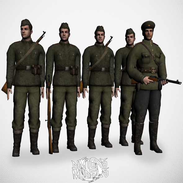 Soviet soldier of WW2 - 3DOcean Item for Sale