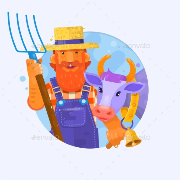Cartoon Farmer with Smiling Cow. Characters