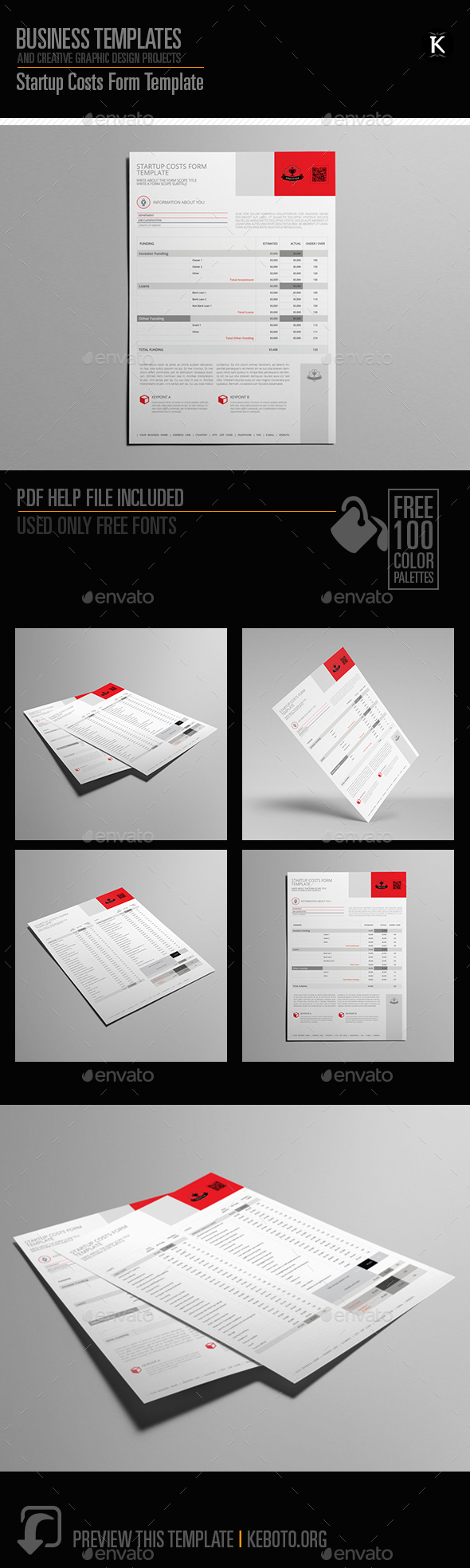 Startup Costs Form Template - Miscellaneous Print Templates