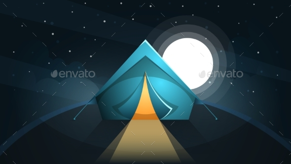 Night Landscape. Tent and Moon. - Landscapes Nature