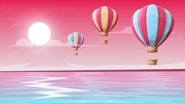 Landscape Mountain. Air Ballon. - Landscapes Nature