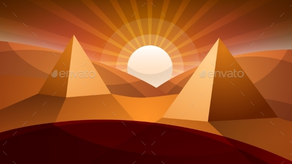 GraphicRiver Desert Landscape Pyramid and Sun 20468138