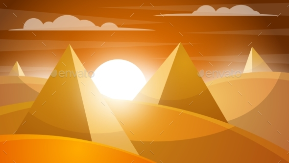 GraphicRiver Desert Landscape Pyramid and Sun 20468139