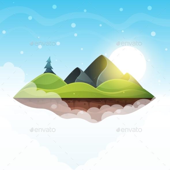 Island Cartoon. Sea and Sun. - Landscapes Nature