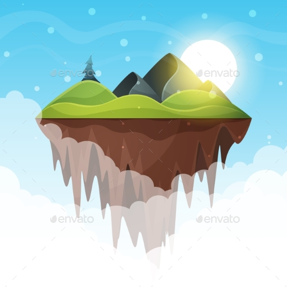 Island Cartoon. Mountain and Sun. - Landscapes Nature