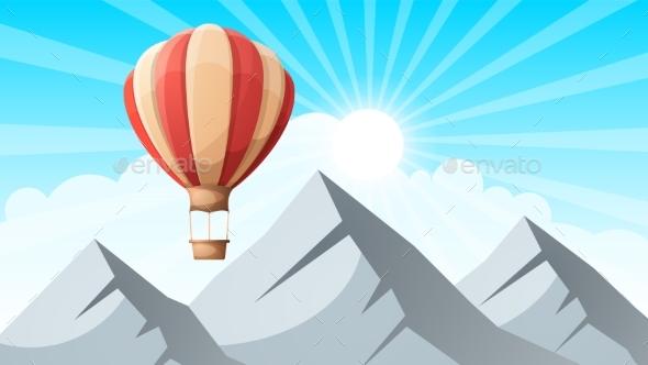 GraphicRiver Landscape Mountain Air Ballon 20468145
