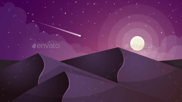 Moon Landscape. Star and Mountain. - Abstract Conceptual