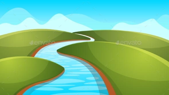 Landscape Cartoon, Illustration. River, Sun, Hill. - Landscapes Nature