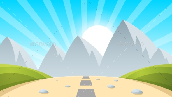 Cartoon Landscape Mountain, Sun, Light - Landscapes Nature